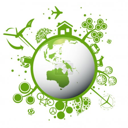 Illustration for Ecology green planet vector concept background for poster - Royalty Free Image