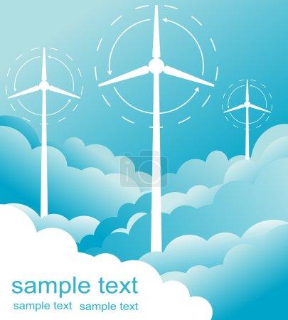Illustration pour Moulin à vent énergie alternative 3d générateur plan avec vecteur de flux éolien pour affiche - image libre de droit
