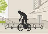 Mountain biker vector parking lot illustration