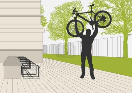 Mountain biker vector parking lot