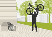 Mountain biker vector parking lot illustration