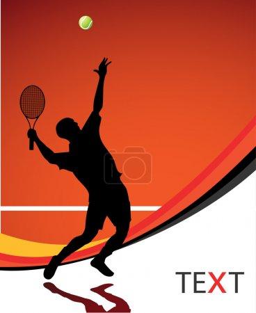 Illustration pour Silhouette de joueur de tennis pour affiche ou carte - image libre de droit