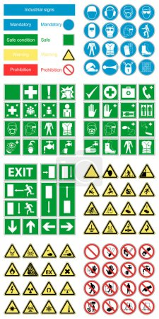 Hazard warning, health & safety and public information signs set