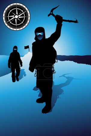 Mountain climber silhouette vector background...