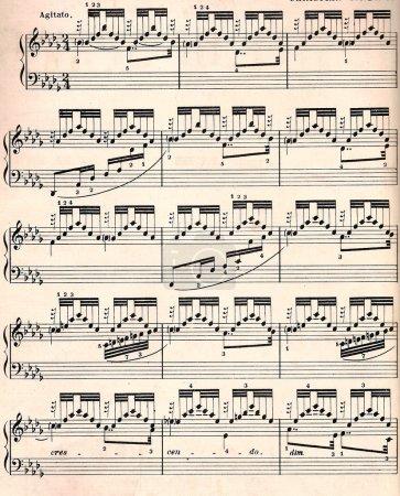 Vintage sheet music for background.