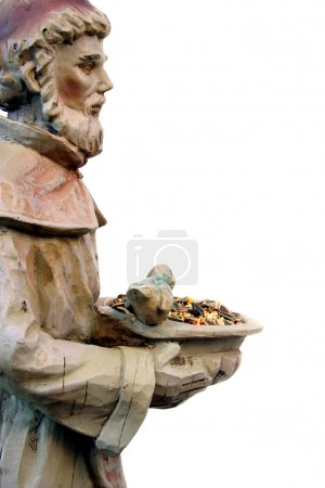 Side view of St. Francis statue with copy space