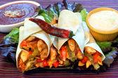 Chicken and vegetable fajitas