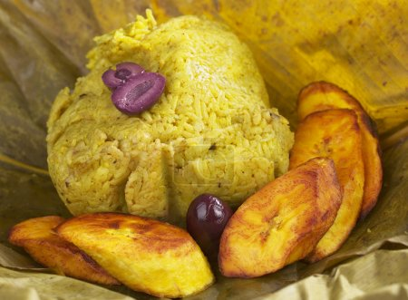 Traditional Peruvian food called Juane from the ju...