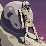 Illustration to mythology about Sisyphus....