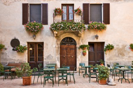 Italian trattoria (tavern), Pienza, Tuscany, Italy