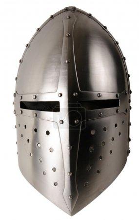 Iron helmet of the medieval knight. Very heavy hea...