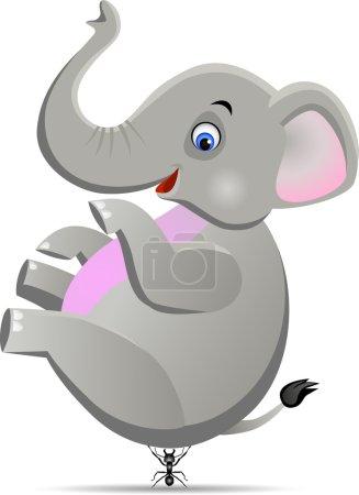 A tinny ant lifting big elephant