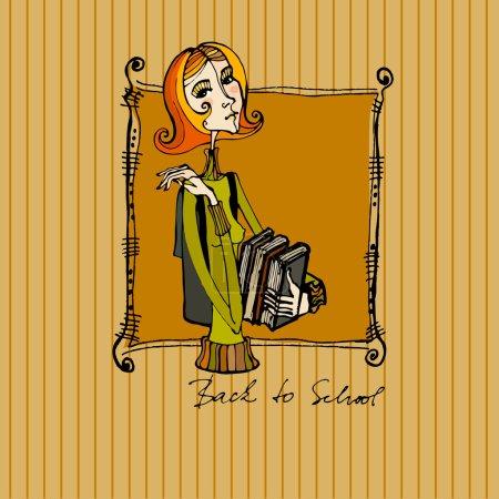 Foto de Fondo otoño ilustrado con una niña linda con libros - Imagen libre de derechos