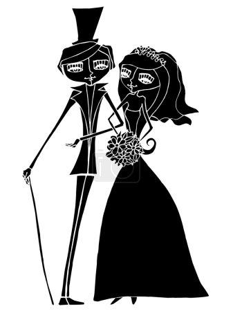 Photo pour Illustration de la belle silhouette des mariés - image libre de droit