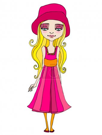 Photo for Illustrated cute summer girl - Royalty Free Image
