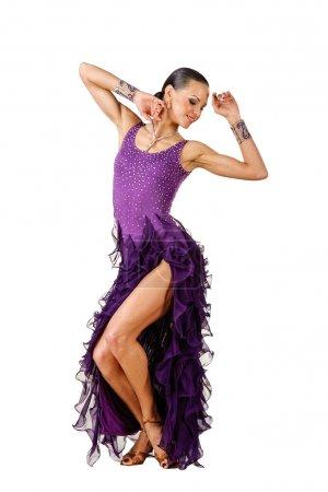 Photo pour Danseurs latino élégance posant. isolé sur blanc - image libre de droit