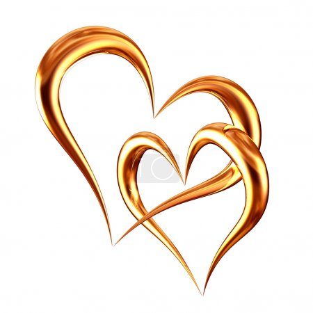 Photo for Illustration golden hearts - Royalty Free Image