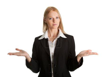 Foto de Joven mujer de negocios confusa. Aislado sobre blanco - Imagen libre de derechos