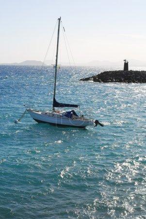 Yacht in blue ocean in Lanzarote