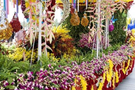 Flowers decorate float
