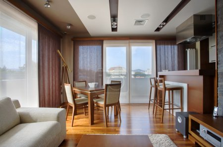 Photo for Modern interior of an apartment with handmade furniture and lighting equipment. - Royalty Free Image