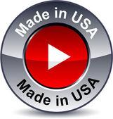 Made in USA round metallic button Vector