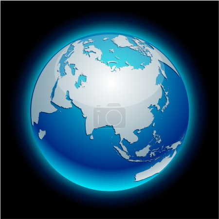 Illustration for Blue neon high-detailed earth ball. Vector. - Royalty Free Image