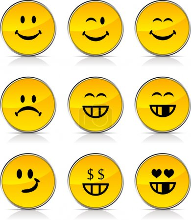 Illustration for Smiley glossy icons. Vector buttons. - Royalty Free Image