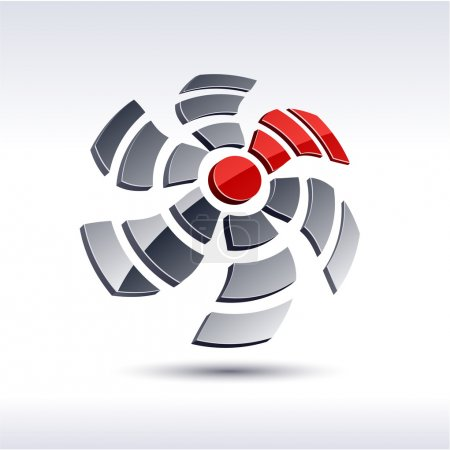 Abstract 3d propeller icon.