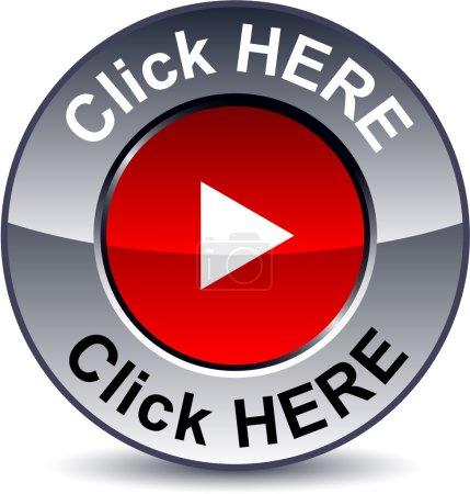 Illustration pour Cliquez ici bouton rond métallique. Vecteur . - image libre de droit