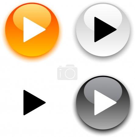 Illustration pour Jouer les boutons vecteur rond brillant. - image libre de droit