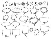 Hand-drawn speech and thought bubbles in comic style
