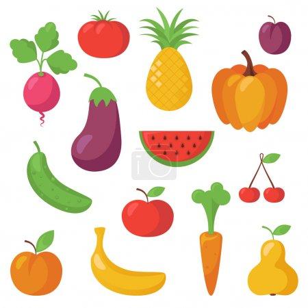 Illustration pour Illustration des fruits et légumes - image libre de droit