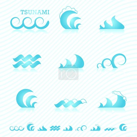 Illustration for Set of wave symbols for design - Royalty Free Image