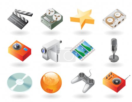Isometric-style icons for entertainment