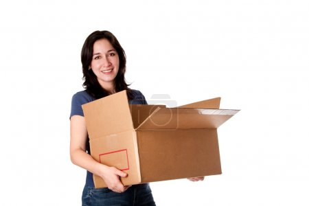 Woman carrying open moving storage box