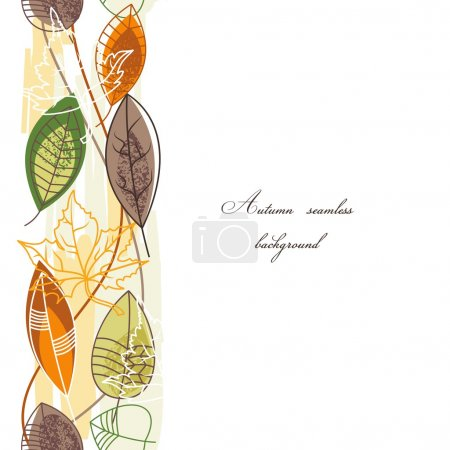 Illustration for Seasonal seamless pattern with leaves - Royalty Free Image
