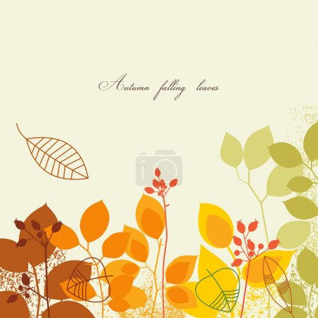 Illustration for Autumn falling leaves background - Royalty Free Image