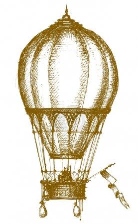 Photo pour Croquis en montgolfière isolé au-dessus du blanc - image libre de droit