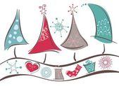 Christmas trees line and Christmas symbols