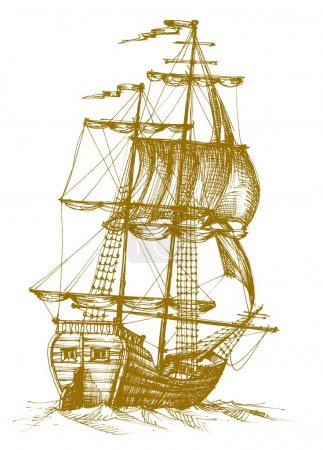 Illustration for Vintage sailboat sketch over white - Royalty Free Image