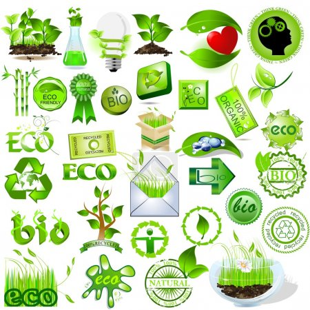 Photo for Detailed nature icons collection, eco and bio message - Royalty Free Image