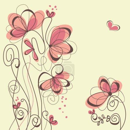 Photo pour Fleurs et coeurs fond romantique - image libre de droit