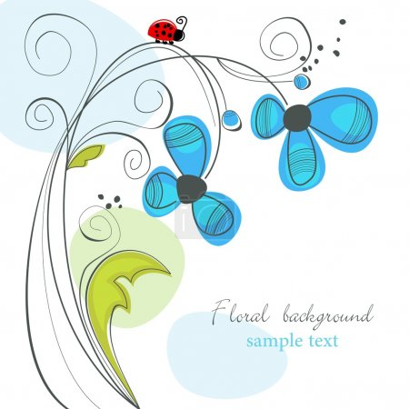 Illustration for Cute floral background with ladybug - Royalty Free Image