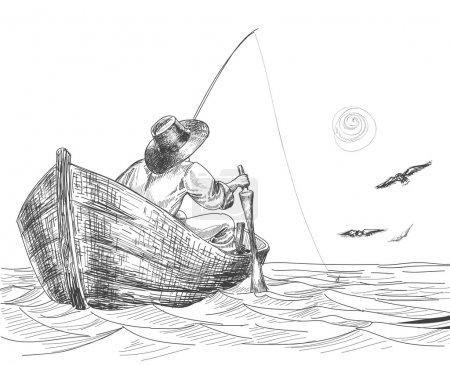 Illustration pour Dessin du pêcheur - image libre de droit