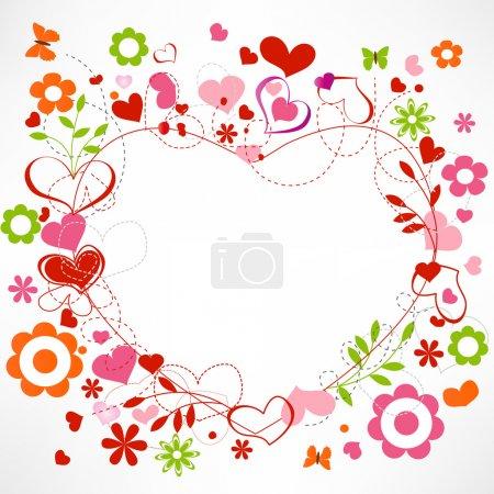 Photo pour Coeurs et cadre de fleurs - image libre de droit