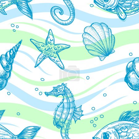 Illustration for Marine seamless pattern - Royalty Free Image
