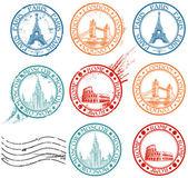 City stamps collection with symbols: Paris (Eiffel Tower) London (London Bridge) Rome (Colosseum) Moscow (Lomonosov University)