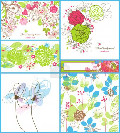 Photo for A collection of floral backgrounds: frames, seamless patterns and greeting cards - Royalty Free Image