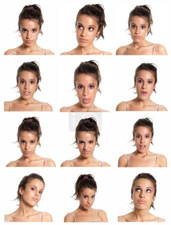 Photo pour Jeune femme visage expressions composite isolé sur fond blanc . - image libre de droit